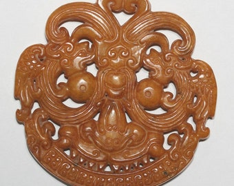 Big Carved Brown Jade Pendant 68mm