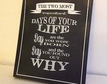 Two Most Important Days of Life, When You Were Born, Why You Were Born, Faux Chalk Sign, Black and White Sign
