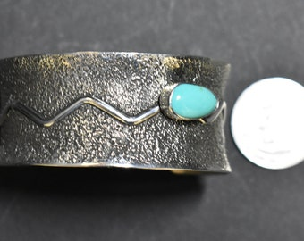 Sterling Silver Bracelet, Sandcast Cuff with Turquoise Cabochon, PJ Navajo SS NM