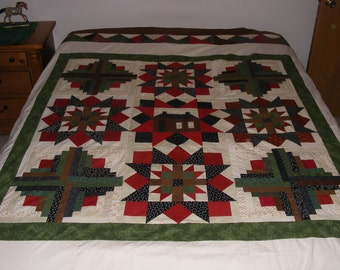 """Unfinished unquilted 100% cotton quilt top, wall hanging or decoration approx. 96"""" X 96""""  all cotton"""