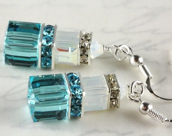 Turquoise Swarovski Earrings, Dangle Earrings, Crystal Cubes, Sterling Silver, Turquoise and White Opal, Light Turquoise