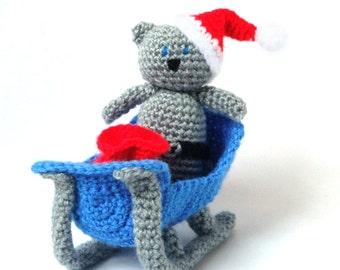 Crochet Christmas Pattern - Sleigh Santa Cat - Christmas Ornament