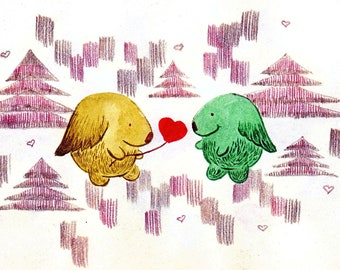 Greeting card: Romantic Kukunoses with a heart. Hand-drawn illustration.