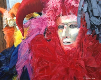 Jester venetian mask art, mardi gras carnival print, carnival costume painting, masquerade mask wall art, theater carnival mask Harlequin