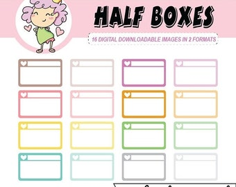 50%off HALF BOXES, Digital Planner Stickers, rounded half boxes, can be used for digital planning like Goodnotes