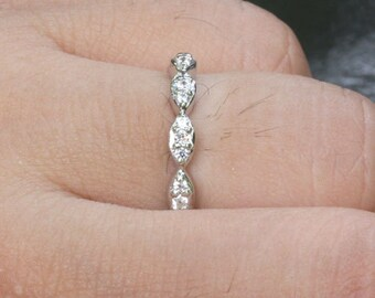 Skinny Marquese 14k White Gold and Diamond Wedding or Engagement Ring (Choose color and size options at checkout)