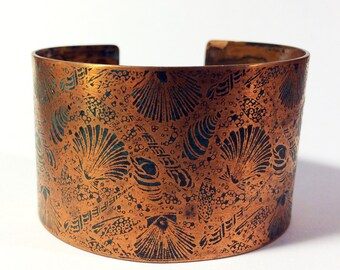 Cuff Bracelet, Etched Copper Seashell Cuff - Free Domestic Shipping