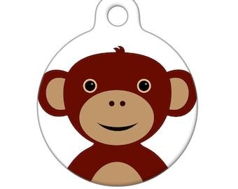 Pet ID Tag - Monkey Pet Tag, Dog Tag, Cat Tag, Luggage Tag, Child ID Tag