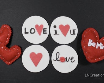 Fondant Valentine Love Hearts Cupcake Toppers