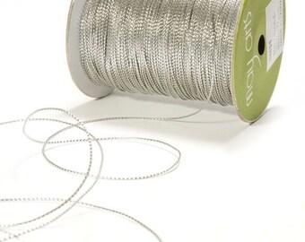 15 yards Metallic Silver String Ribbon
