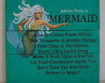 Silver Mermaid Advice Sign