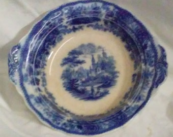 Antique 1890 Burgess & Leigh Nonpareil Flow Blue Small Handled Serving Dish  BD. 272768