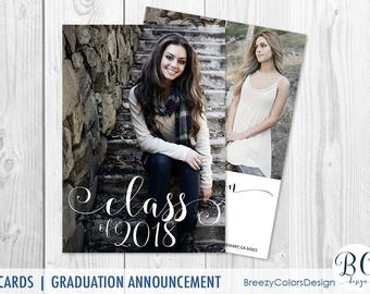 College Graduation Invitation Template, Hight School Announcement Printable, Class of 2018 Picture, Senior Photography, Personalized Cards