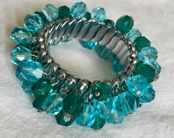 Vintage 60s cha cha bracelet with aqua blue & sea green faceted beads