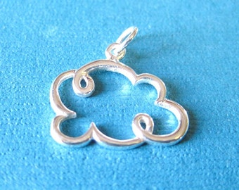 Sterling Silver Cloud Openwork Pendant Charm