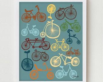 "Bikes Poster, Bike Giclee Print Wall Decor, ""I Love Bikes"" Bicycle Print, Digital Giclee Print of Bicycles, Bicycles Poster, Wall Art Poster"