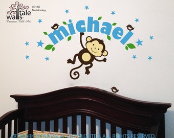 Boy Monkey wall decal with stars, name and little birds for baby nursery.