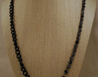 Gunmetal Crystal and Black Chain Necklace