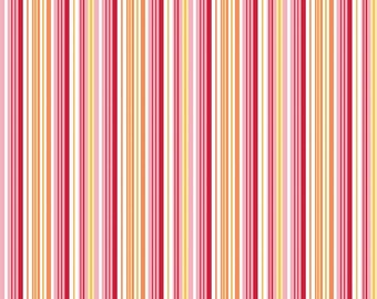 Pink Yellow Orange Stripe Cotton Fabric in Yard 3/4 Half and 1/4 Fine and Dandy by Lori Whitlock for Quilting Sewing Applique by Riley Blake