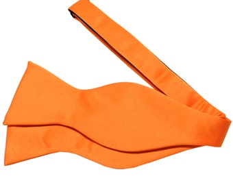 New Men's Solid Orange Self-Tie Bowtie, for Formal Occasions
