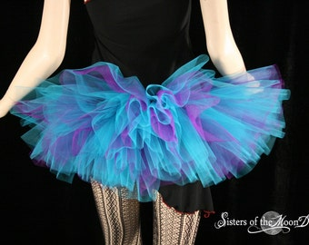 Peek a boo mini purple and turquoise tutu skirt Adult gogo dance race run  -- You Choose Size -- Sisters of the Moon