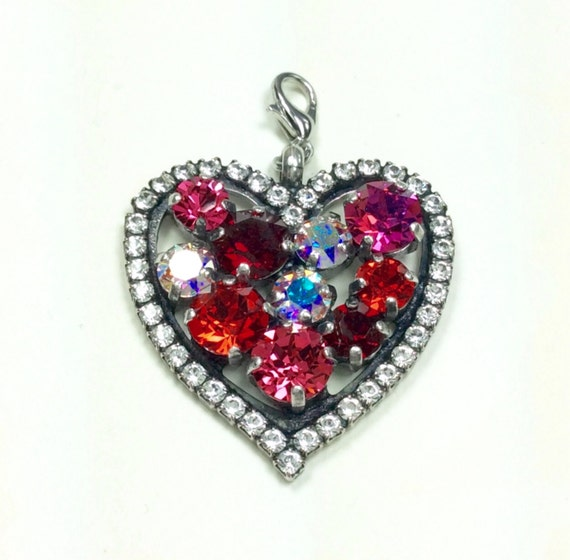 Swarovski Crystal - Heart Shaped - Add-On Charm - Radiant Reds & Pinks and Aurora Borealis  -  FREE SHIPPING     SALE -  35.