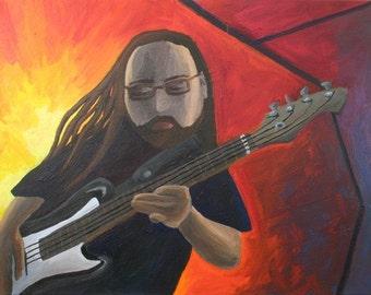 Professor Kitty Plays the Bass 5 x 7 PRINT with 8 x 10 Black Matte