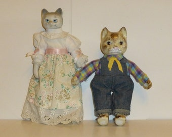 Porcelain and Pottery Cat Dolls