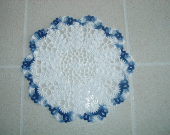 New Hand Crocheted Doily in Blue and White