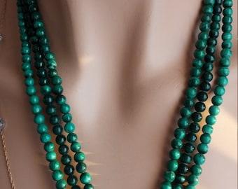Malachite 3 Strand Magnetic Clasp Necklace
