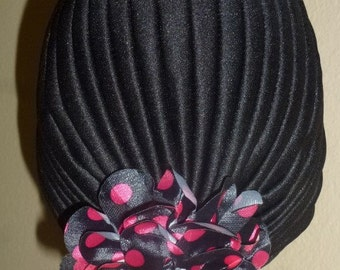 Chemo Black Turban Hat with Large Black and Hot Pink Polka Dot FLower attached