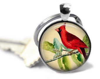Cardinal keychain, vintage red bird art key ring, bird key chain, cardinal keyring. Indiana state bird.