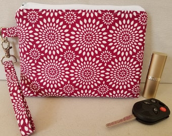 Red Circles Wristlet Purse