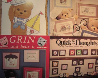 4 cross stitch pattern booklets, Bear's Ahoy!!, Families, Grin and Bear It. Quick Thoughts, fruit,duck,miniatures, teddy bears,funny sayings