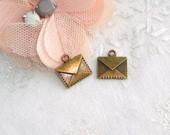 brass, brass, antique brass envelope envelope charm 10 envelopes