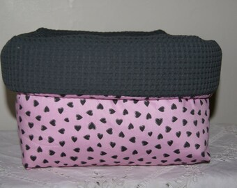 Fabric basket Organizer quilted gray hearts on pink