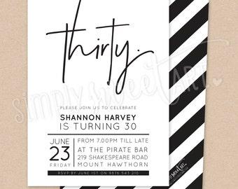 BY331 DIGITAL Thirtieth Birthday Party Invitation - modern minimal HAND LETTERED posh gold glitter type invite printable 21st 30th 40th 50th