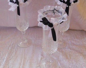 Mini black and white garter Deco wedding custom color