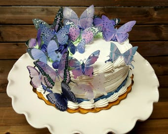 Edible Butterfly Lilac Purple Cake/ Cupcake Toppers,  Cake Picks Set of 15