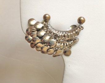 Gypsy Earrings Metal Earrings 50s Earrings Vintage Earrings Silver Earrings Climber Earrings