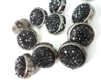 10 Pcs Round Gun Metal Cover Shiny Buttons with Loops - for sewing, fashion crafts and accessories