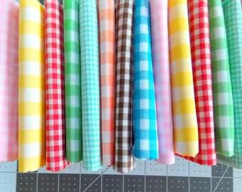 Vintage Gingham Fabric / Green & White  / Fat Quarter