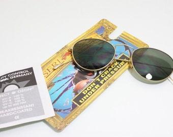 Alpina Serious Vintage Sunglasses Oval Round NOS 47mm Gold Green Austria