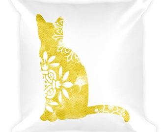 Watercolor Mandala Accent Pillow   18x18 Square Pillow   Cat   Yellow