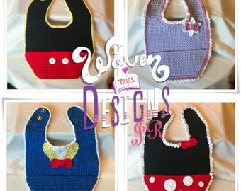 Three Disney Character Inspired Bibs, Combo Special!