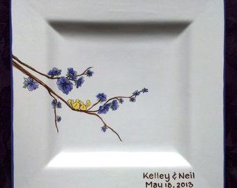 Wedding Guest Book Alternative Wedding Signature Plate Guest Book Platter ceramic guest book Love Birds
