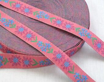 "Pink Ribbon, Floral Ribbon, Sewing Trim, Jacquard Ribbon, Sewing Supplies, Flowered Ribbon, Ribbon Trim, Decorative Tape, 11/16"",  3 Yards"
