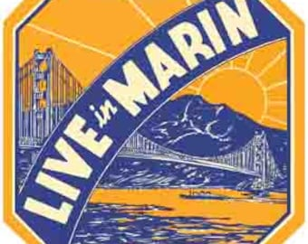 Vintage Style Marin County CA  California Travel Decal sticker
