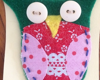 Quirky felt owl brooch