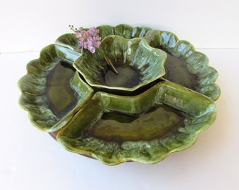 Vintage Mid Century California Pottery Lazy Susan - Olive Greens Drip Glaze - Avacado Green -